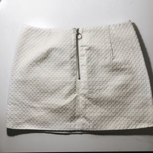 Top Shop White Quilted Front Zip Skirt